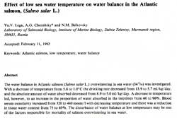 Effect of low sea water temperature on water balance in the Atlantic salmon